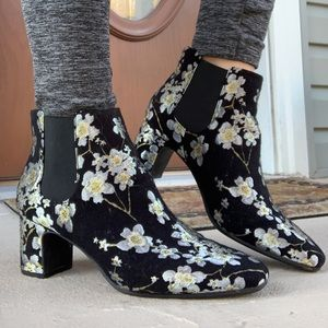 Anne Klein Floral Ankle Slip on Heeled Boots